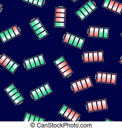 Different Charge of Battery Seamless Pattern