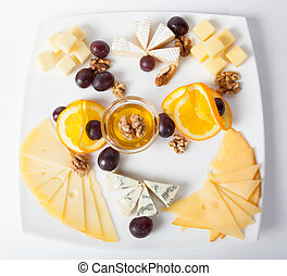 Different cheese cutted on a plate