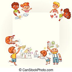 Different children draw on large poster