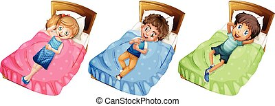 Different children relaxing on bed