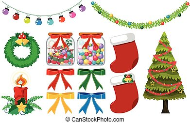 Different christmas decorations on white background