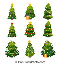 Different Christmas tree set