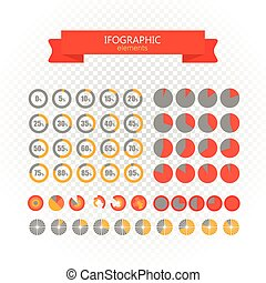 Different circle charts collection. infographic elements on transparent. Vector