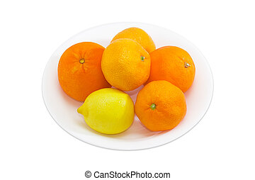 Different citrus on a white dish