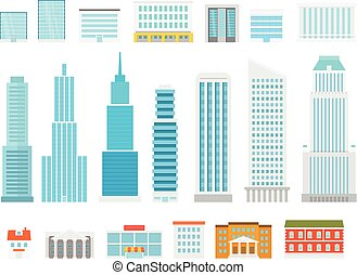 Different city elements vector collection. Modern city houses and scyscrapers