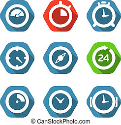 Different clock buttons collection isolated on white. Design...