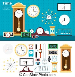 Different clocks in the room
