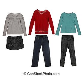 different clothes for children isol
