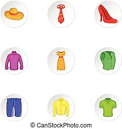 Different clothes icons set, cartoon style