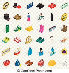 Different clothes icons set, isometric style