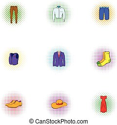 Different clothes icons set, pop-art style