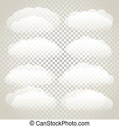 Different clouds vector seton transparent background