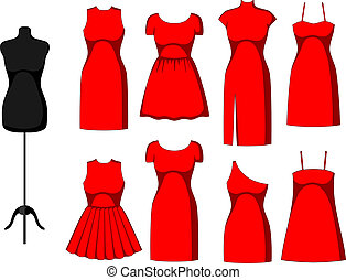Different Cocktail and Evening Dresses and mannequin. Vector...