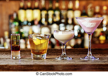 Different cocktails in a nightclub