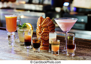 Different cocktails on the bar