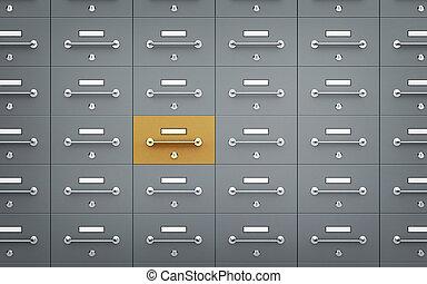 different., cofre, -, ilustração, um, caixas, depósito, 3d