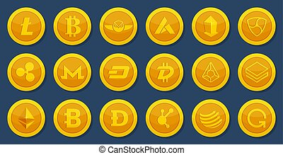 Different coins of crypto. Virtual electronic money. Bitcoin...