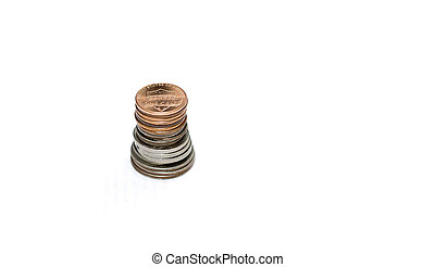 Different coins of USA isolated on the white background