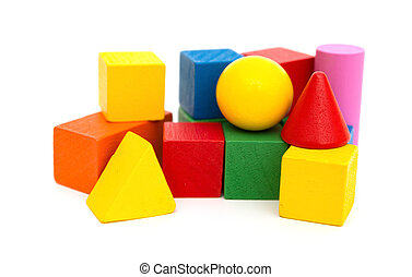 different color and shape wooden toy blocks on white background