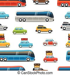 Different color cars and bus vector illustration. Seamless background