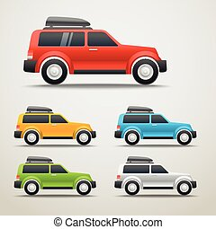 Different color cars vector illustration