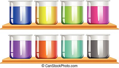 Different color chemical in beakers
