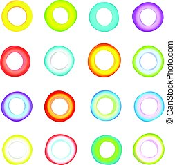 Different color circle abstract forms vector set. Isolated on white