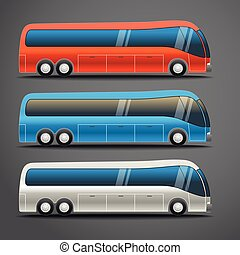 Different color city bus vector illustration