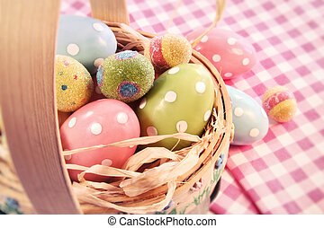 Different color eggs in a easter basket