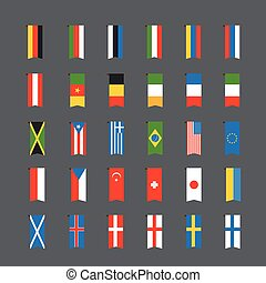 Different color flags of countries. Clip-art