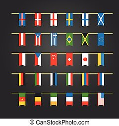 Different color flags of countries on rope. Vector clip-art
