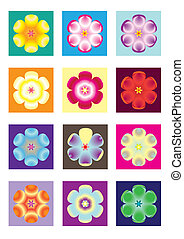 different color flower icon