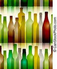 Different color glass bottles seamless background