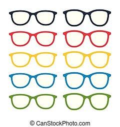 Eyeglasses icon set - Different color glasses frames on ...