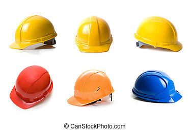 helmets - Different color helmets set isolated on white...