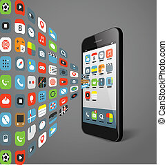 Different color icons flows to modern smartphone