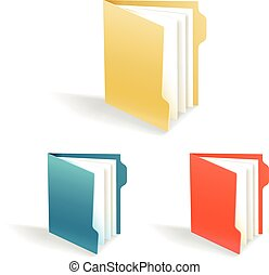 Different color office folders collection isolated on white