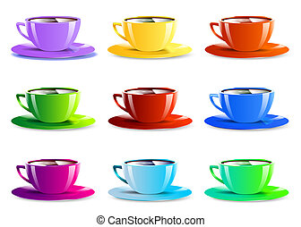 Different color paper cups  icons