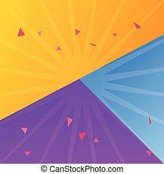 Different color paper sheets background, vector illustration of yellow, blue and purple color