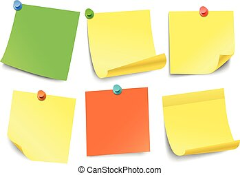 Different color paper stickers collection isolated on white. Template for a text