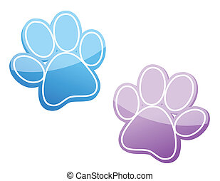 paw - different color paws illustrations isolated over a ...