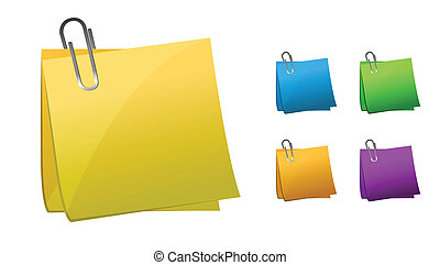 Different color Post its with paper clips over a white background. vector file also available
