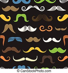 Different color retro style moustache seamless pattern