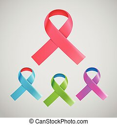 Different color ribbons on light background