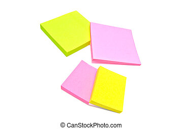 different color sticky notes on white