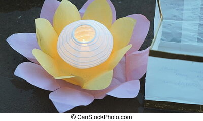 Different color water lily with candle on water