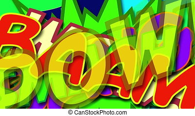 Different colored Comic speech words layered on top of each other. Bright dynamic cartoon illustrations in retro pop art style, computer generated. 3d rendering comic design