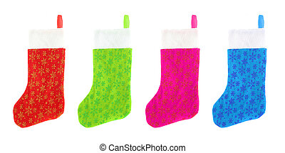 different colored festive christmas stockings isolated on white