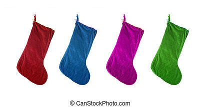 christmas stocking - different colored festive christmas...