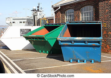 Industrial waste skips - Different colored Industrial waste ...